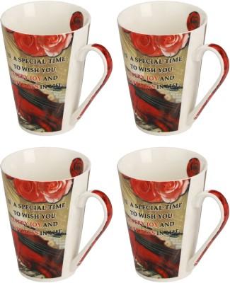 Somil Somil Lovely Rose Birth Day Cup Set Of 4 Ceramic Mug(250 ml, Pack of 4) at flipkart