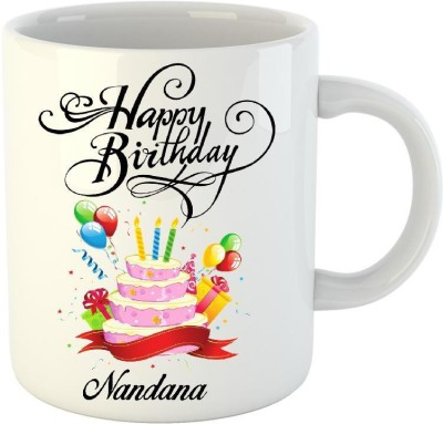 Huppme Happy Birthday Nandana White  350 ml  Ceramic Mug