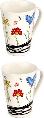 Somil Somil White Quite Baby Painting Milk Cup Set Of 2 Ceramic Mug(250 ml, Pack of 2) at flipkart