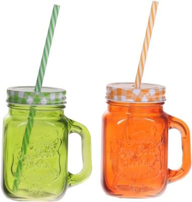 Zido Colorful Designer Mason Jar Glass Mug(450 ml, Pack of 2) at flipkart