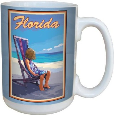 Tree-Free Greetings Greetings lm43043 Vintage Florida Girl in Beach Chair by Joanne Kollman Ceramic with Full-Sized Handle, 15-Ounce, Multicolored Ceramic Mug(60 ml) at flipkart