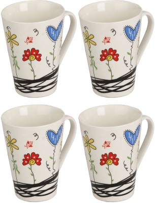 Somil Somil White Quite Baby Painting Milk Cup Set Of 4 Ceramic Mug(250 ml, Pack of 4) at flipkart