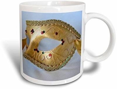 3dRose Masquerade in Antique Gold Glitter Ceramic, 15 oz, White Ceramic Mug(60 ml) at flipkart