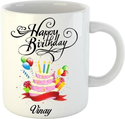 Huppme Happy Birthday Vinay name coffee mug Ceramic Mug(350 ml)