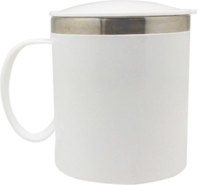 Tuelip Coffee Tea Water Travel Cup with Sipper Lid 400 ml (White) Stainless Steel Mug(400 ml) at flipkart