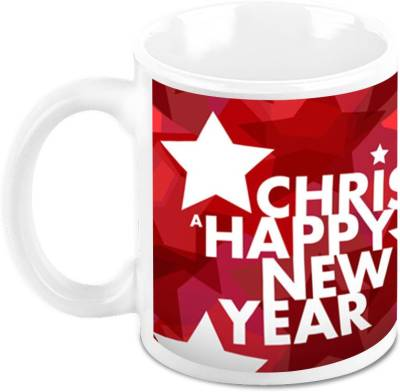 Homesogood Enjoy Christmas Enjoy New Year Ceramic Mug(325 ml)