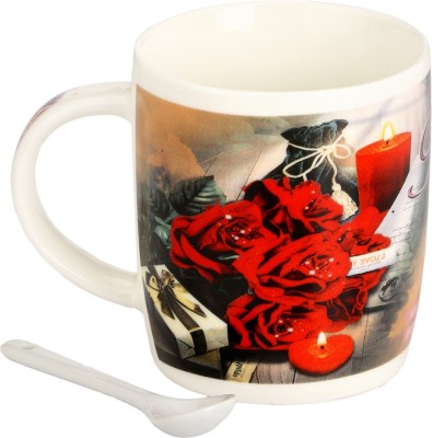 Somil Somil Rose Birth Day Wishes Cup With Spoon Set Of One Ceramic Mug(400 ml)