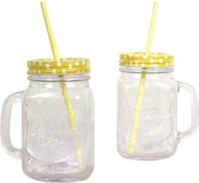 roxx mason yellow Glass Mug(450 ml, Pack of 2) at flipkart