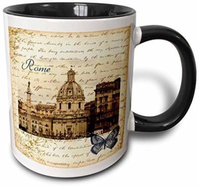 3dRose mug_178934_4 Rome, Italy Vintage Two Tone Black, 11 oz, Black/White Ceramic Mug(60 ml) at flipkart