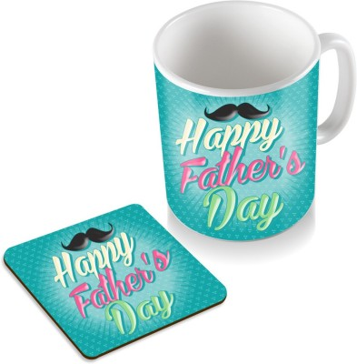 SKY TRENDS Happy Father's day Mustaches Background Green Gifts For father's Day Coaster Coffee Set Ceramic Mug(320 ml, Pack of 2), White