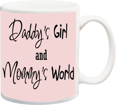 IZOR Gift for Mummy/mother/mum/Dad/father;Daddy's Girl And Mom's World HD Printed Mug(325 ml) at flipkart
