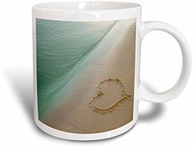 3dRose mug_173299_1 Heart Shape Symbolizing Love, Heart Carved in Sand on The Beach Ceramic, 11-Ounce Ceramic Mug(60 ml) at flipkart