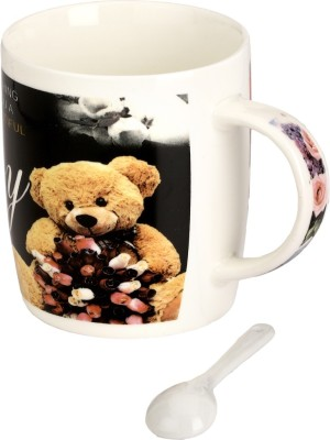 Somil Somil Teddy Cup With Spoon Set Of One Ceramic Mug(400 ml)