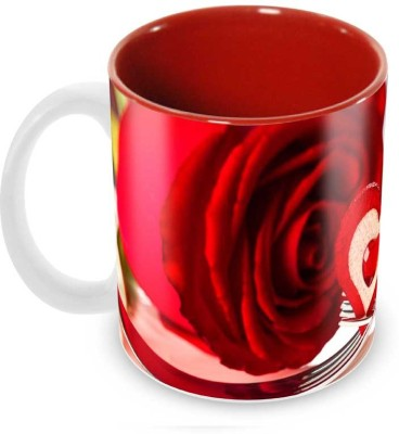 Tuelip Beautiful Love Sharing Printed inside Red for Tea And Coffee Ceramic Mug(350 ml) at flipkart