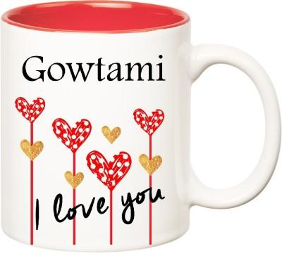 Huppme I Love You Gowtami Inner Red (350 ml) Ceramic Mug(350 ml), Red;white