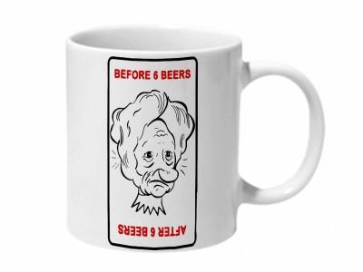 Mooch Wale Before 6 Beers After 6 Beers Ceramic Coffee Mug 325 ml Mooch Wale Mugs