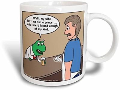 3dRose The Frog and the Bartender Ceramic, 11 oz, White Ceramic Mug(60 ml) at flipkart