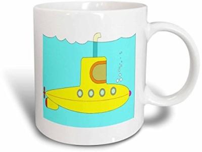 3dRose mug_43839_1 Yellow Submarine Ceramic, 11 oz, White Ceramic Mug(60 ml) at flipkart