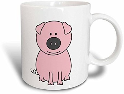 3dRose mug_58248_1 Pink Pig Cartoon Ceramic, 11-Ounce Ceramic Mug(60 ml) at flipkart