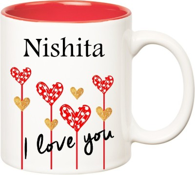 Huppme I Love You Nishita Inner Red (350 ml) Ceramic Mug(350 ml), Red;white