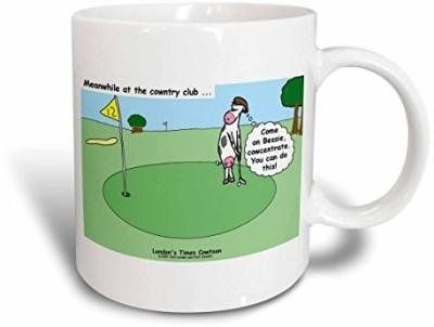 3dRose Cow Country Club Golf Ceramic, 15 oz, White Ceramic Mug(60 ml) at flipkart
