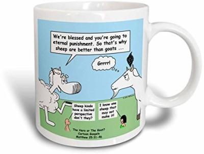 3dRose Matthew 25 31-46 Sheep and Goat Metaphor Ceramic, 15 oz, White Ceramic Mug(60 ml) at flipkart