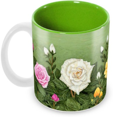 Tuelip Beautiful Printed Colourfull Roses Inner Green For Tea And Coffee Ceramic Mug(350 ml) at flipkart