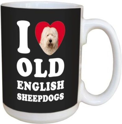Tree Free Free Greetings LM45093 I Heart Old English Sheepdogs Ceramic with Full-Sized Handle, 15-Ounce, White and Grey Ceramic Mug(60 ml) at flipkart