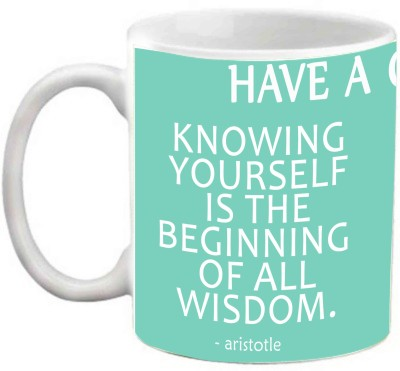 EFW Have A Good Day Inspirational Quotes Knowing Yourself Is The Beginning Of All Wisdom' (Efwmu0100084) Coffee Ceramic Mug(325 ml)