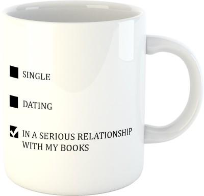 Deeher Gifts Serious Relationship With My Books Ceramic Mug(350 ml), Black;white