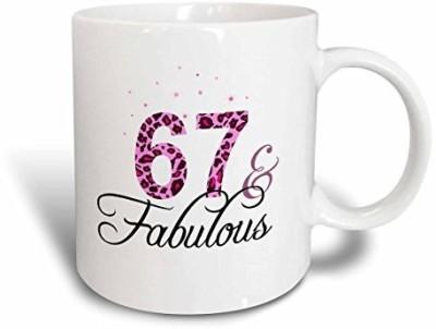 3dRose 67 and Fabulous Fun Girly Birthday Gift Black and Hot Pink Leopard Print Pattern Bday Diva Text Ceramic, 15 oz, White Ceramic Mug(60 ml) at flipkart