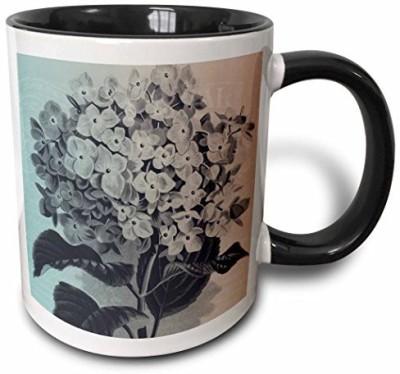 3dRose Vintage Bouquet of Flowers Two Tone Black, 11 oz, Black/White Ceramic Mug(60 ml) at flipkart