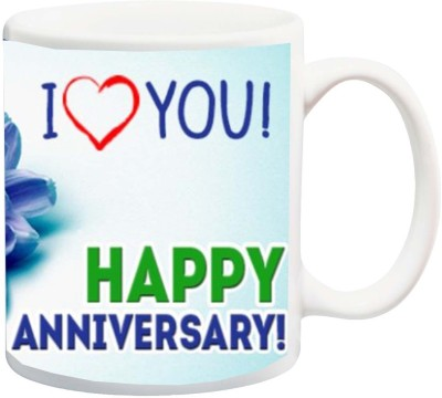 IZOR Gift for Husband/Wife/Hubby/Wifey On Anniversary;I Love You With Blue Beautiful Flower Printed Ceramic Mug(325 ml)