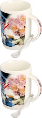 Somil Somil Pink Rose Happy Birth Day Cup Set Of 2 Ceramic Mug(400 ml, Pack of 2) at flipkart