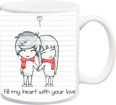 IZOR Gift for Husband/Wife/Boyfriend/Girlfriend;Couple On Valentine's Day And Anniversary Fill my heart with your love Printed Ceramic Mug(325 ml)
