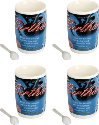 Somil Somil Attractive Happy Birthday Cup With Spoon Set Of 4 Ceramic Mug(400 ml, Pack of 4) at flipkart