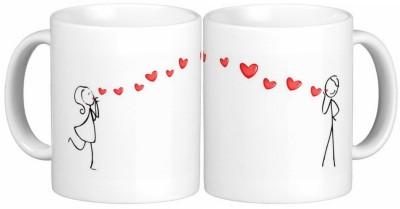 Exoctic Silver Love Couple Anniversary 011 Ceramic Mug(300 ml, Pack of 2) at flipkart