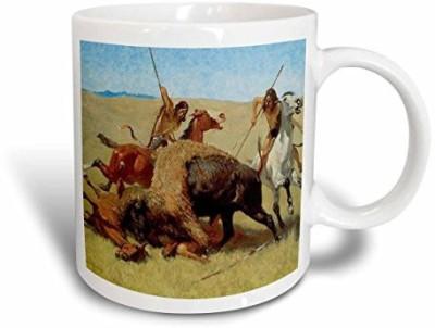 3dRose The Buffalo Hunt By Frederic Remington American West Ceramic, 15 oz, White Ceramic Mug(60 ml) at flipkart