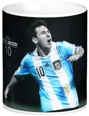 Exoctic Silver Leo Messi Series 007 Ceramic Mug(300 ml) at flipkart