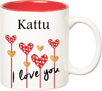 Huppme I Love You Kattu Inner Red (350 ml) Ceramic Mug(350 ml), Red;white