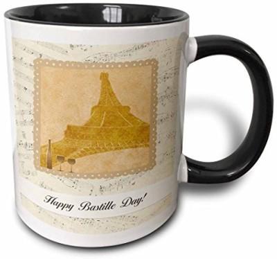 3dRose mug_154897_4 Eiffel Towel, Wine Glasseseasonss and Bottle on Music Notes, Happy Bastille Day Two Tone Black, 11 oz, Black/White Ceramic Mug(60 ml) at flipkart