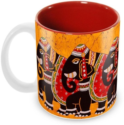 Tuelip Beautiful Decorated Elephant Printed Inner Red For Tea And Coffee Ceramic Mug(350 ml) at flipkart