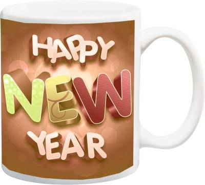 ME&YOU Bautifule Printed Happy New Year Gifts Ceramic Mug(325 ml)