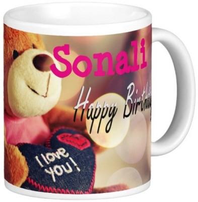 Exoctic Silver Happy Birthday SONALI Ceramic Mug(330 ml) at flipkart