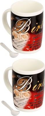 Somil Somil Birthday Massege Cup With Spoon Set Of 2 Ceramic Mug(400 ml, Pack of 2) at flipkart