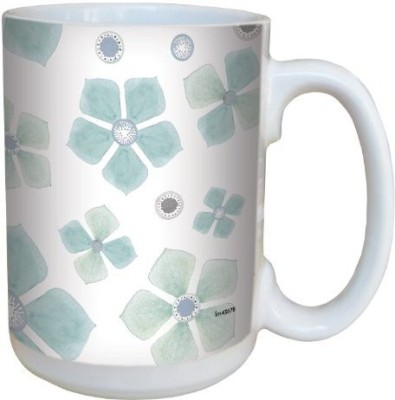 Tree-Free Greetings Greetings lm43678 Lovely Teal Flower Petals by Shell Rummel Ceramic with Full-Sized Handle, 15-Ounce, Multicolored Ceramic Mug(60 ml) at flipkart