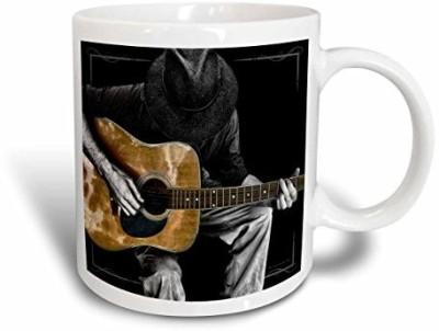 3dRose mug_40704_2 Guitar Musician Tone Black and White Ceramic, 15 oz, White Ceramic Mug(60 ml) at flipkart