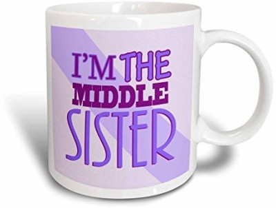 3dRose I'm The Middle Sister Purple Ceramic, 11-Ounce Ceramic Mug(60 ml) at flipkart