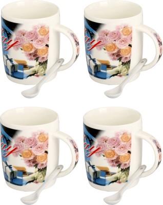 Somil Somil Pink Rose Happy Birth Day Cup Set Of 4 Ceramic Mug(400 ml, Pack of 4) at flipkart