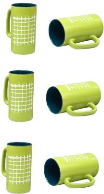 caffeine Lime Green Check and Mate Ceramic Mug(500 ml, Pack of 6) at flipkart